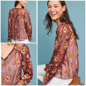 Feather Bone Embroidered Ruffled Giralda Blouse L